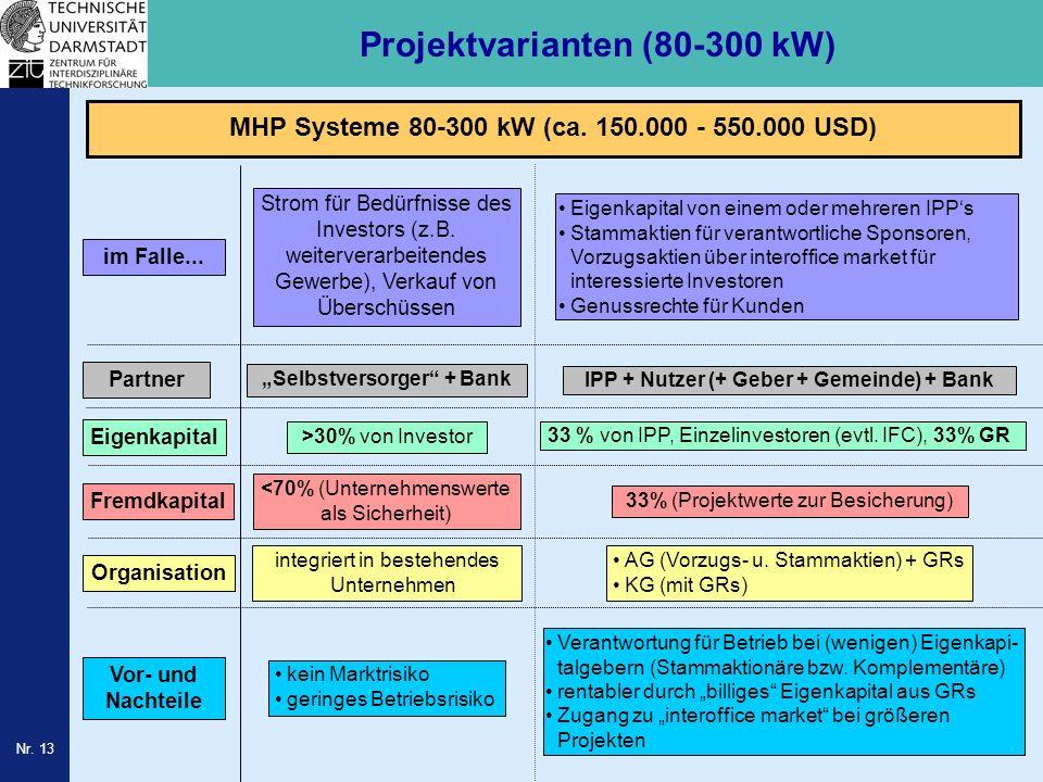 Projektvarianten (80-300 kW)