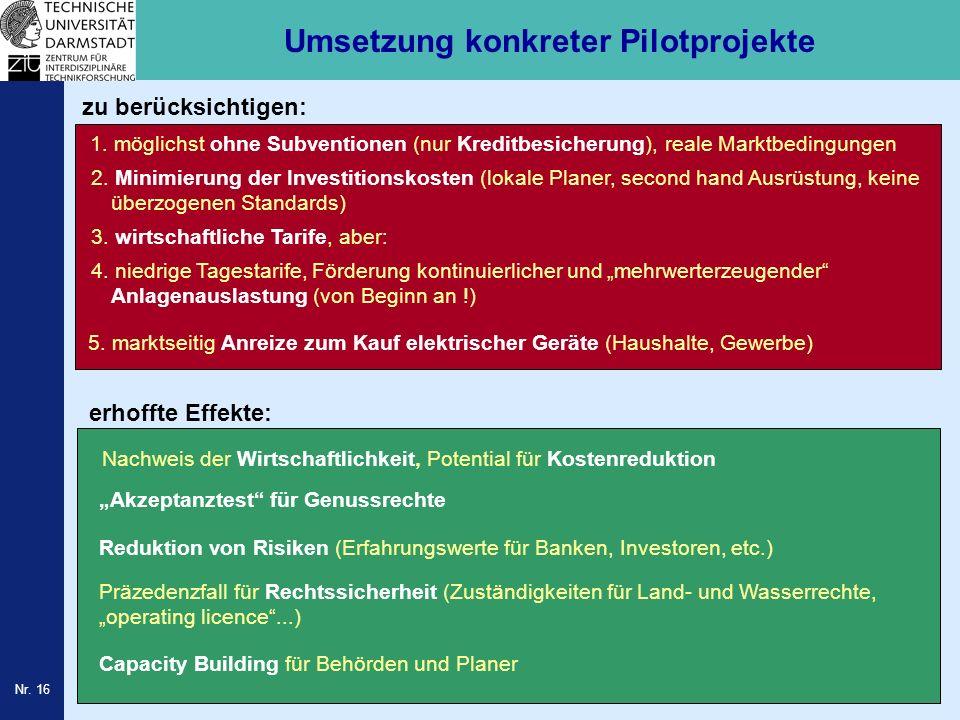 Umsetzung konkreter Pilotprojekte