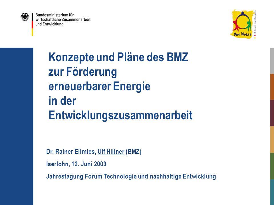 Konzepte und Pläne des BMZ zur Förderung erneuerbarer Energie in der Entwicklungszusammenarbeit