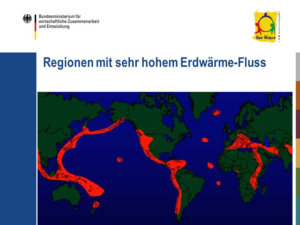 Regionen mit sehr hohem Erdwärme-Fluss