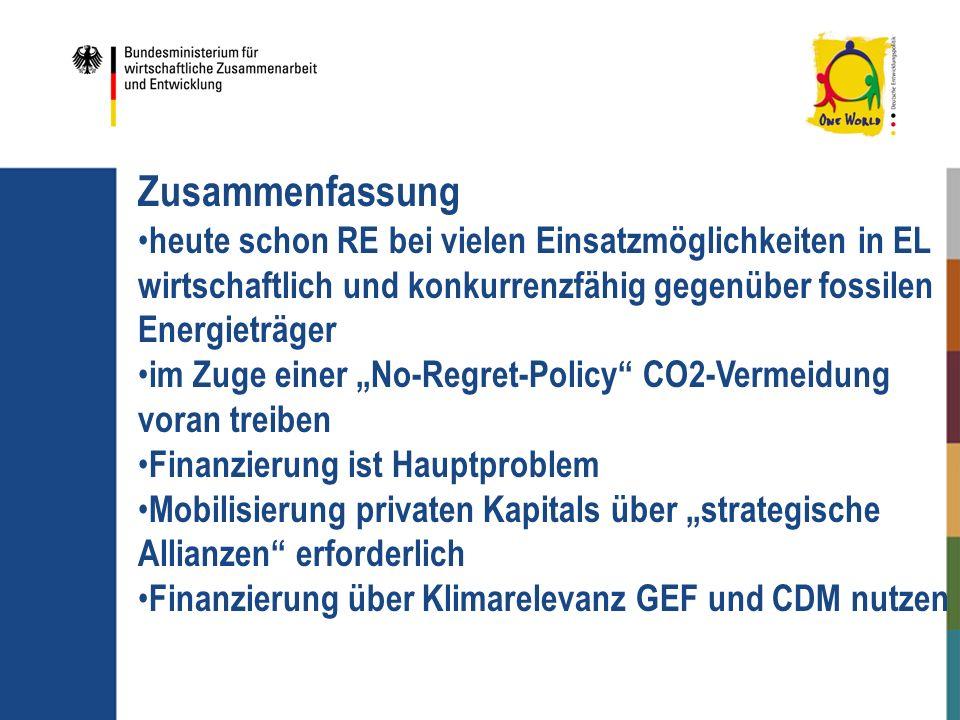 Zusammenfassung heute schon RE bei vielen Einsatzmöglichkeiten in EL wirtschaftlich und konkurrenzfähig gegenüber fossilen Energieträger.