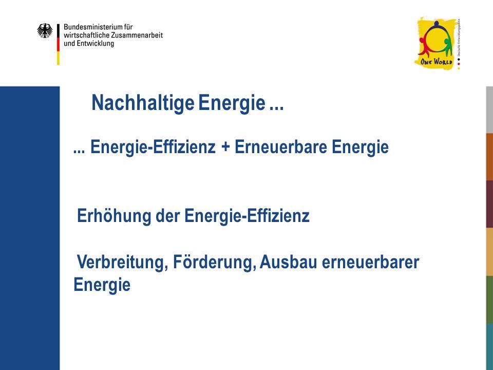 Nachhaltige Energie ... ... Energie-Effizienz + Erneuerbare Energie