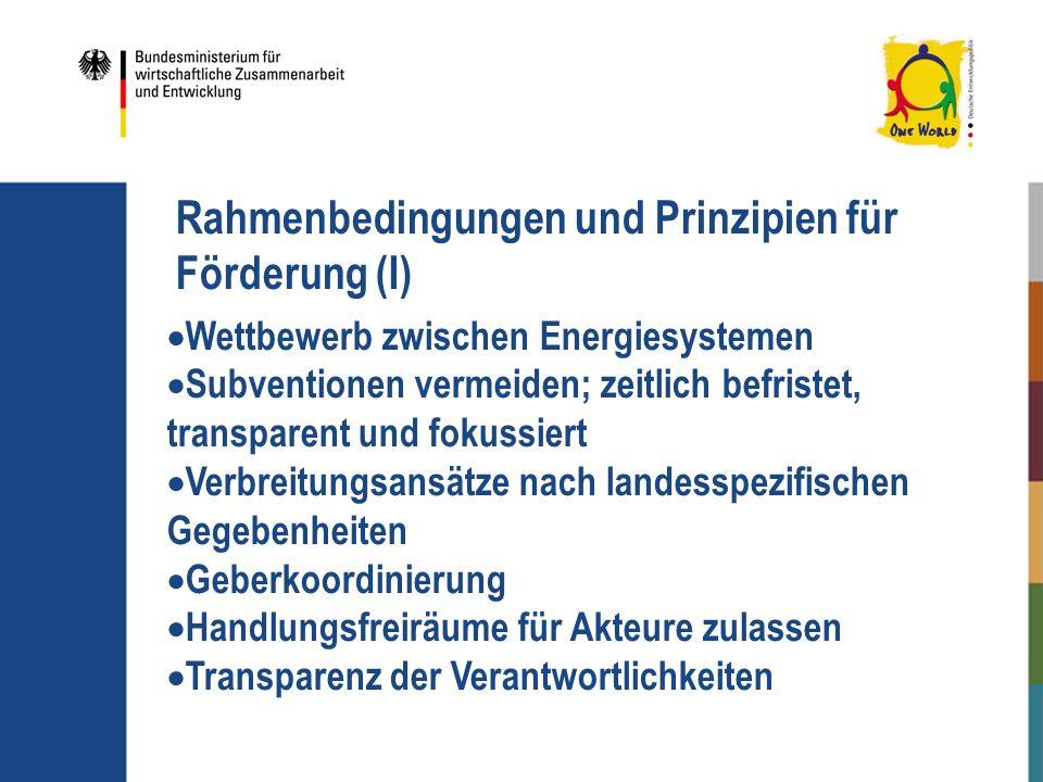 Rahmenbedingungen und Prinzipien für Förderung (I)