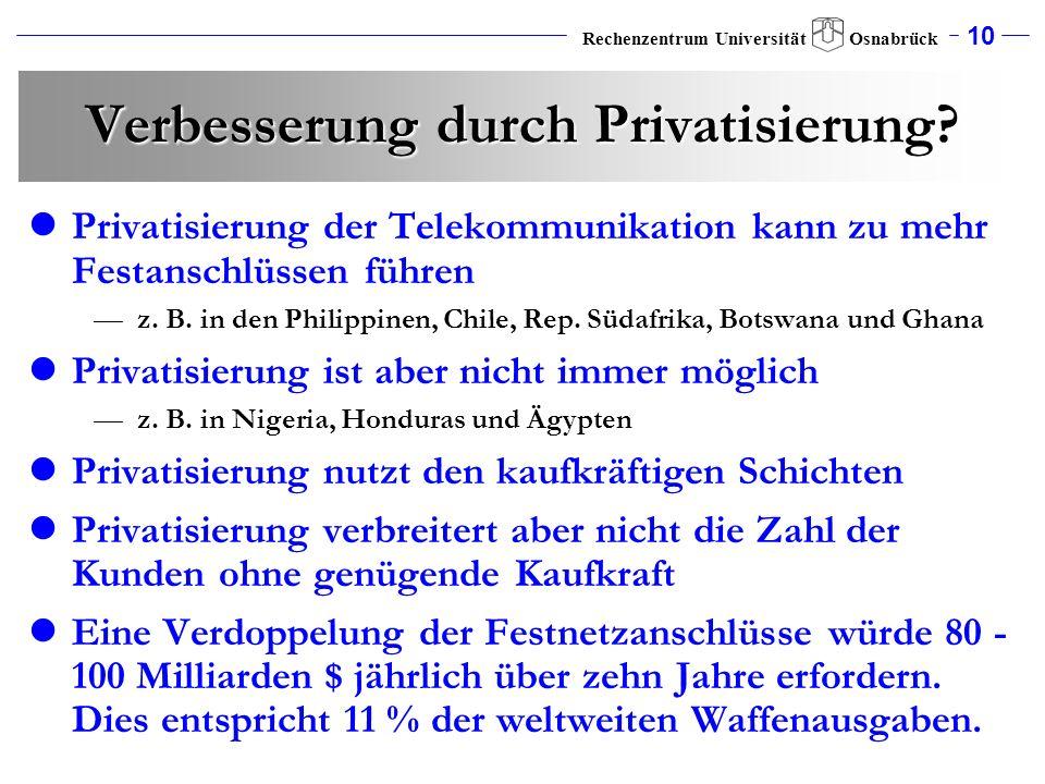 Verbesserung durch Privatisierung