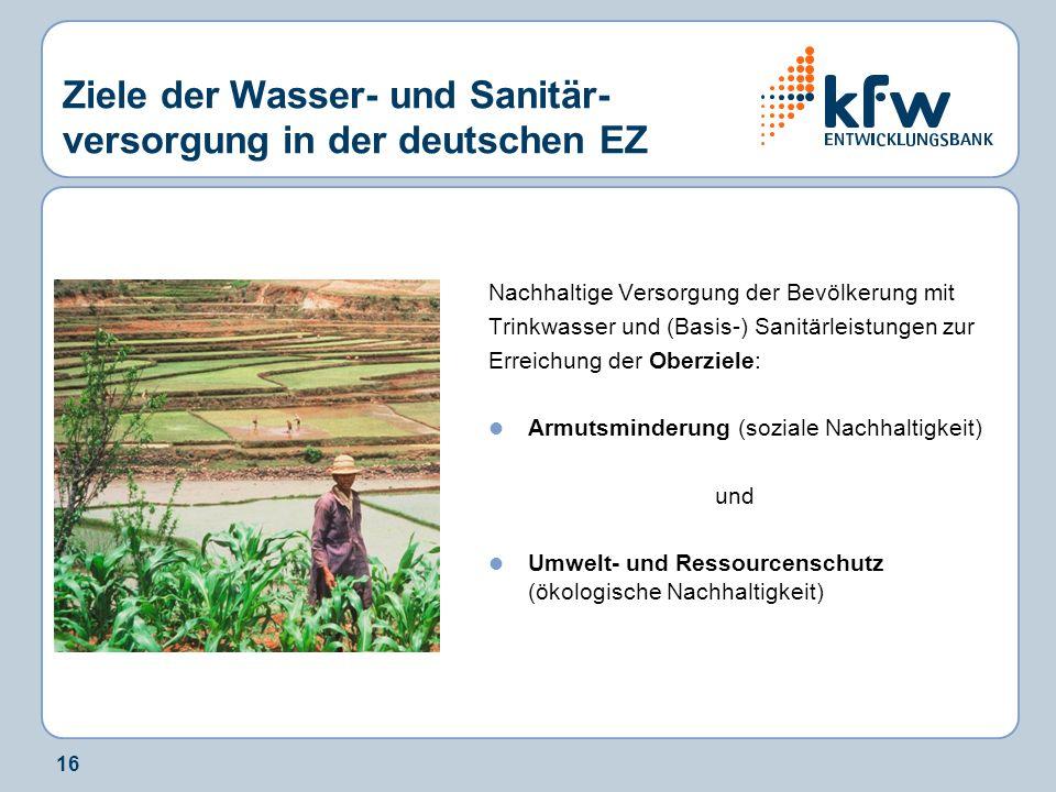 Ziele der Wasser- und Sanitär-versorgung in der deutschen EZ