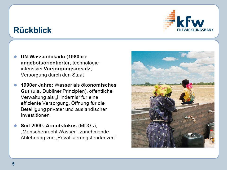 Rückblick UN-Wasserdekade (1980er): angebotsorientierter, technologie-intensiver Versorgungsansatz; Versorgung durch den Staat.