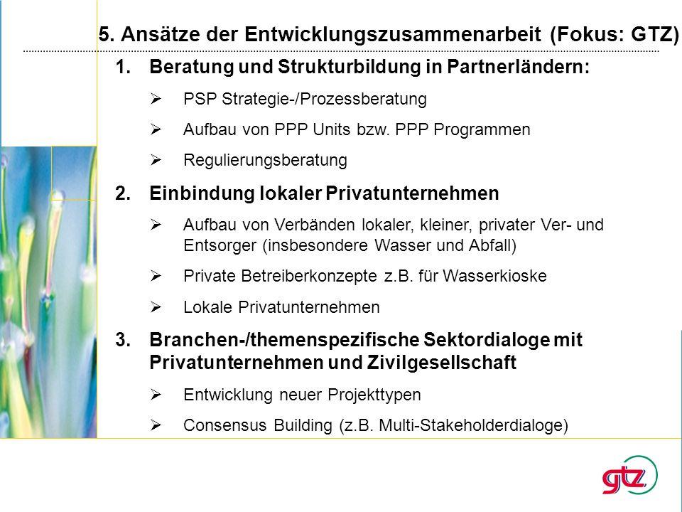 5. Ansätze der Entwicklungszusammenarbeit (Fokus: GTZ)