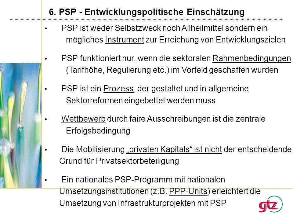 6. PSP - Entwicklungspolitische Einschätzung