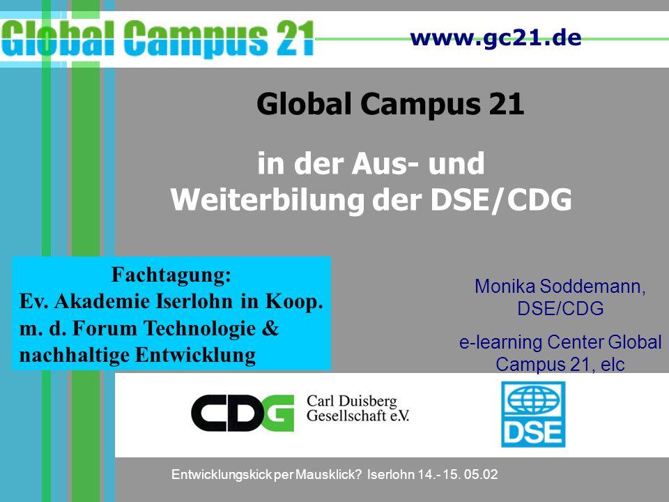 in der Aus- und Weiterbilung der DSE/CDG