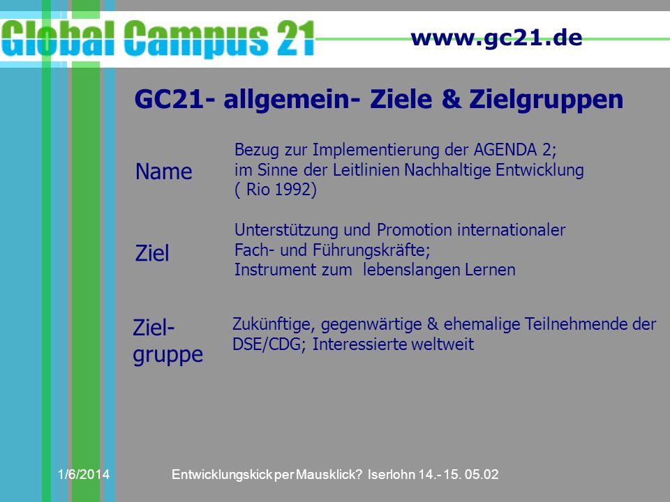 GC21- allgemein- Ziele & Zielgruppen