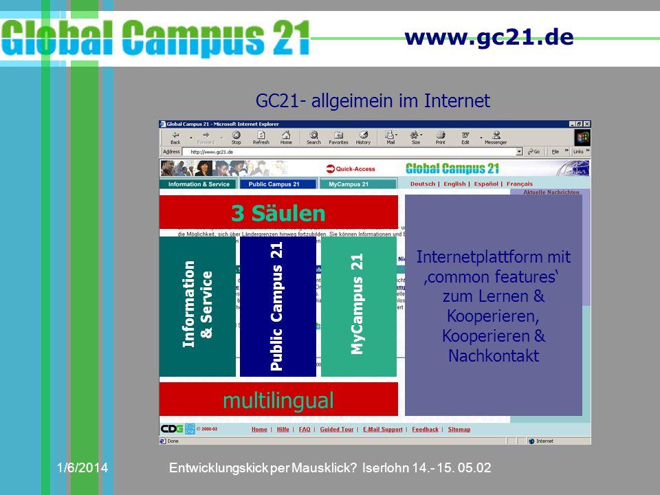 3 Säulen multilingual GC21- allgeimein im Internet