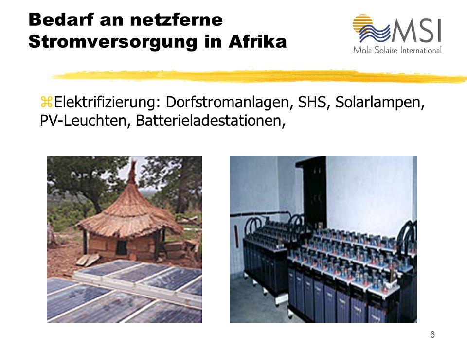 Bedarf an netzferne Stromversorgung in Afrika