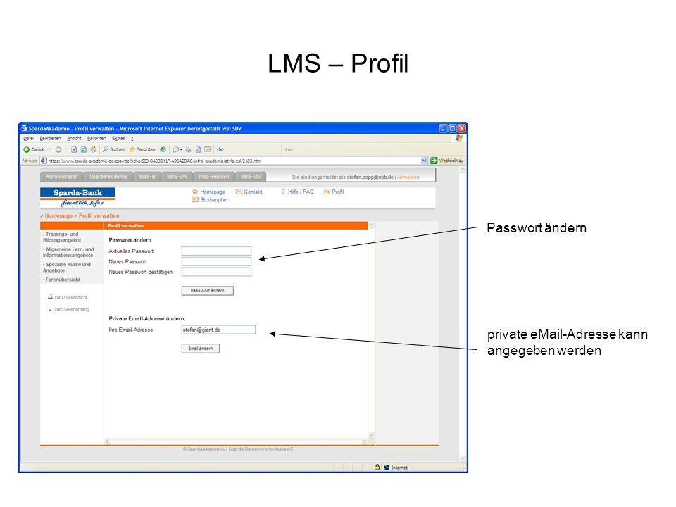 LMS – Profil Passwort ändern