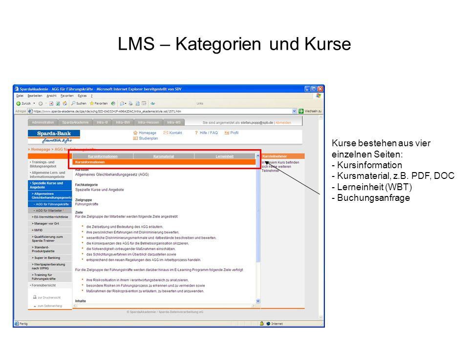 LMS – Kategorien und Kurse