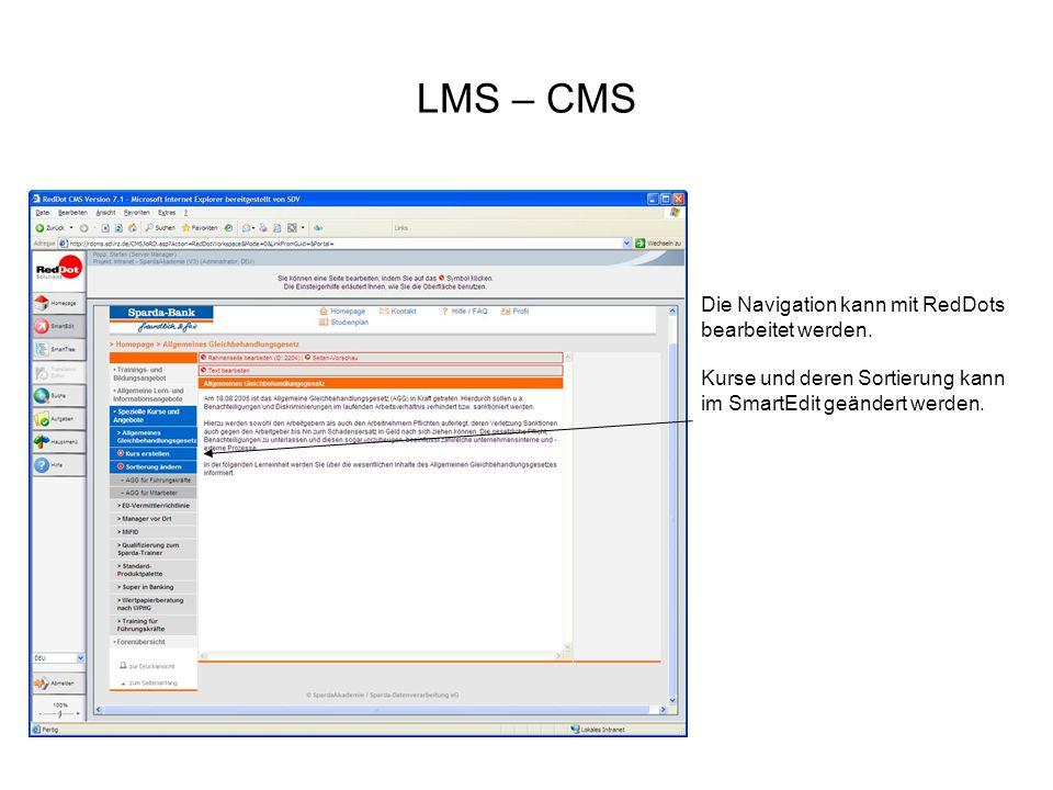 LMS – CMS Die Navigation kann mit RedDots bearbeitet werden.