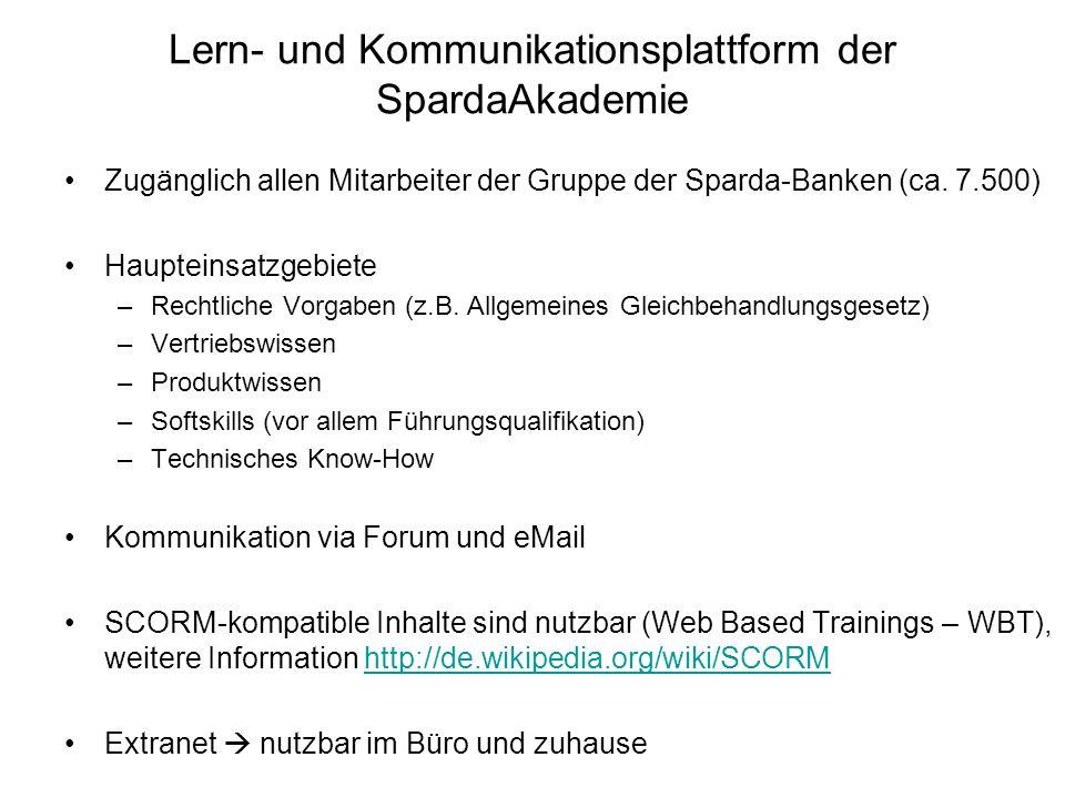 Lern- und Kommunikationsplattform der SpardaAkademie