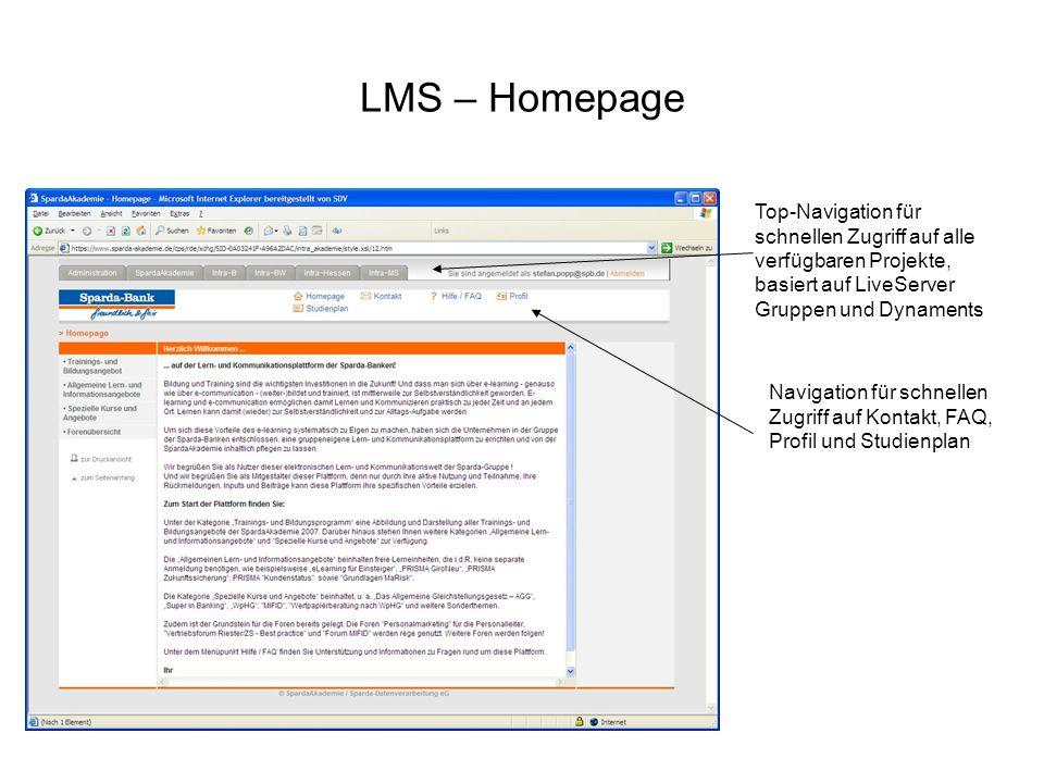 LMS – HomepageTop-Navigation für schnellen Zugriff auf alle verfügbaren Projekte, basiert auf LiveServer Gruppen und Dynaments.