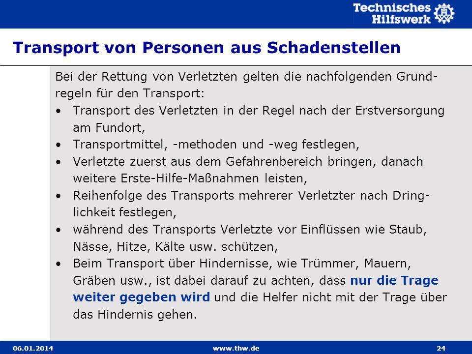 Transport von Personen aus Schadenstellen