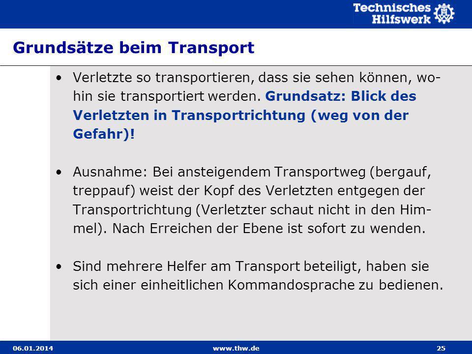 Grundsätze beim Transport