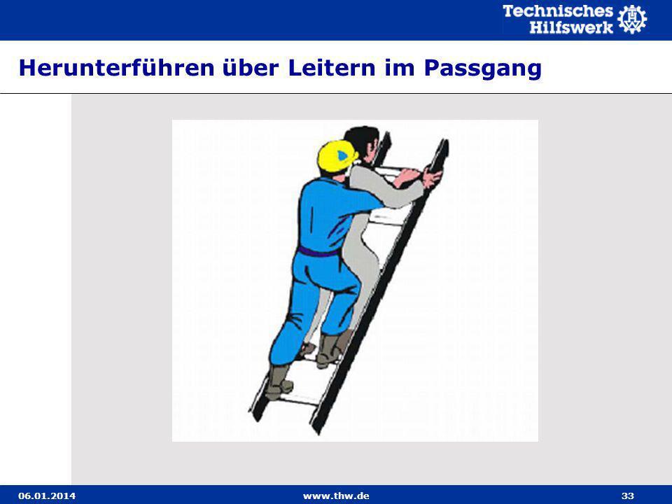 Herunterführen über Leitern im Passgang
