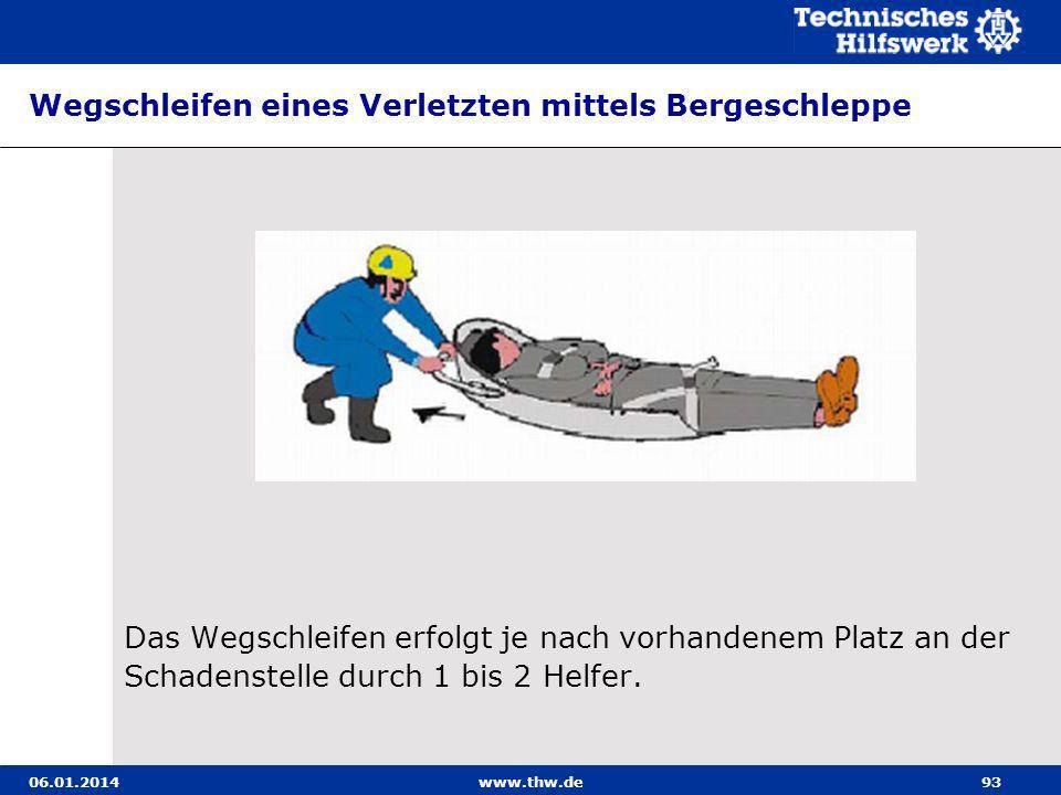 Wegschleifen eines Verletzten mittels Bergeschleppe
