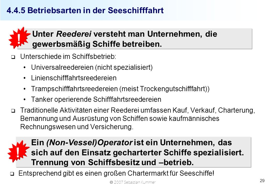 4.4.5 Betriebsarten in der Seeschifffahrt