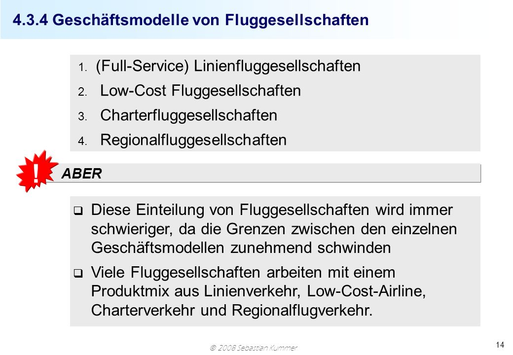 4.3.4 Geschäftsmodelle von Fluggesellschaften
