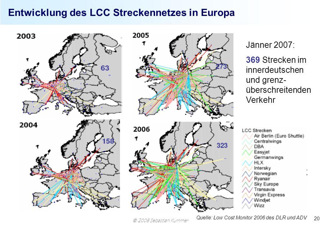 Entwicklung des LCC Streckennetzes in Europa