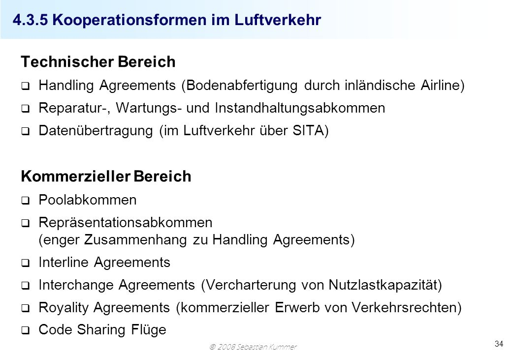 4.3.5 Kooperationsformen im Luftverkehr