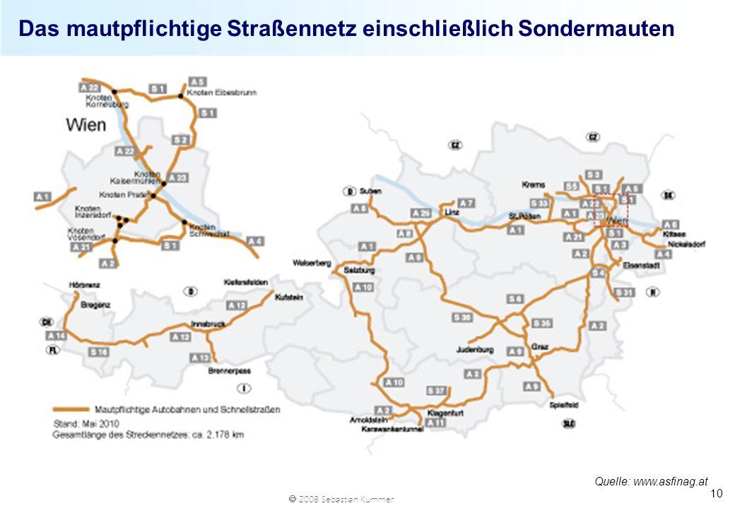 Das mautpflichtige Straßennetz einschließlich Sondermauten
