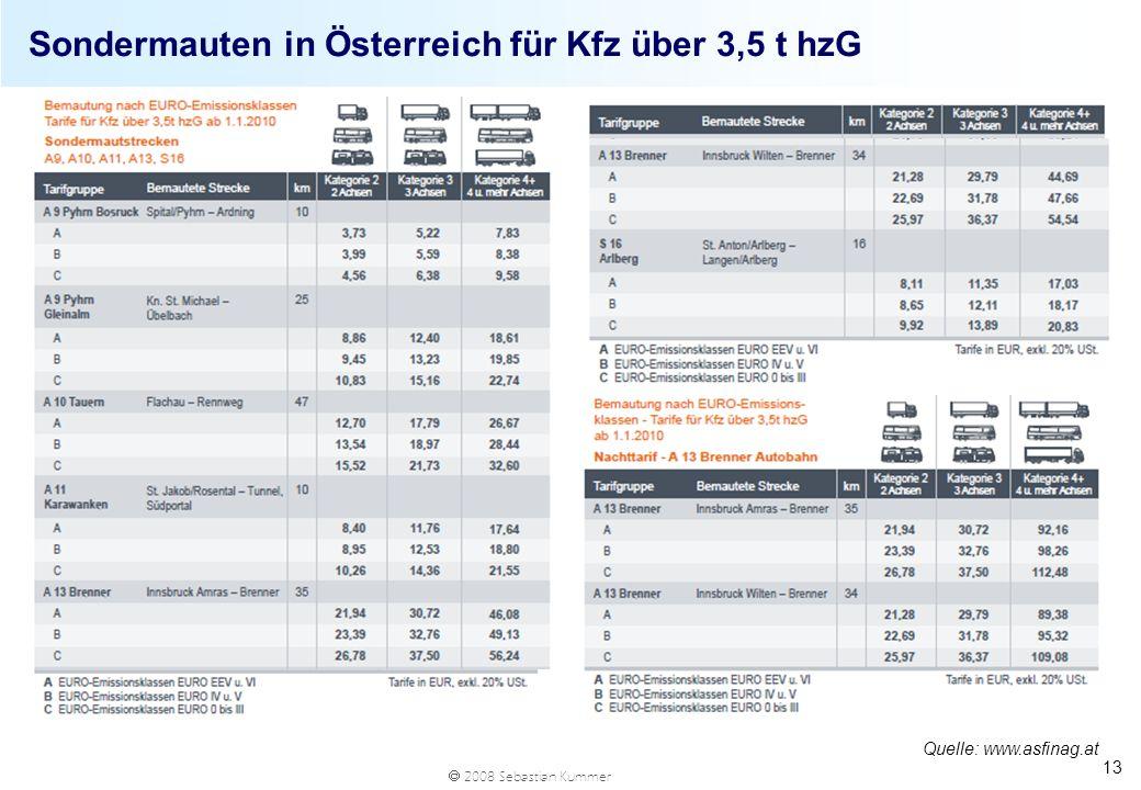 Sondermauten in Österreich für Kfz über 3,5 t hzG