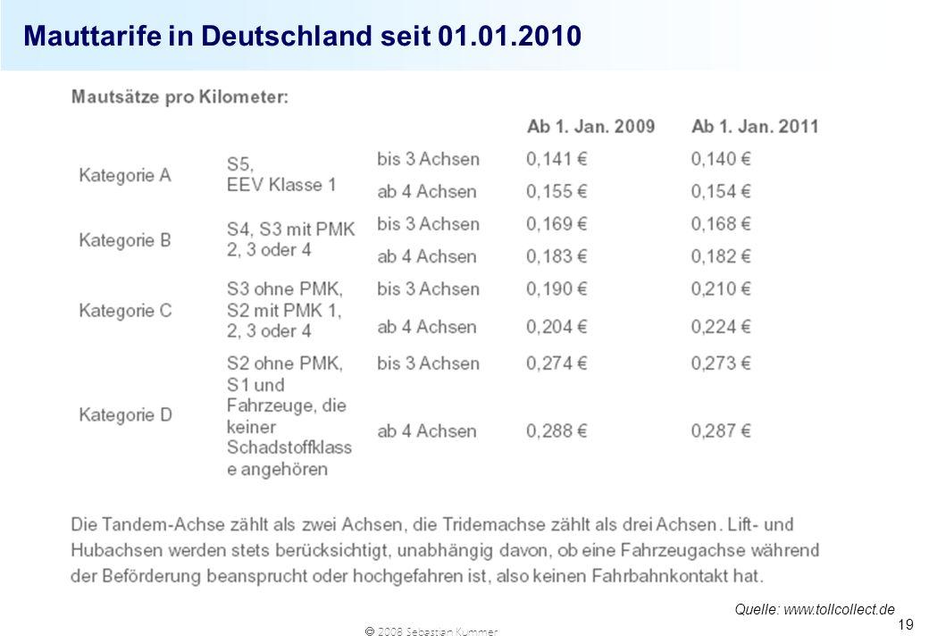 Mauttarife in Deutschland seit 01.01.2010