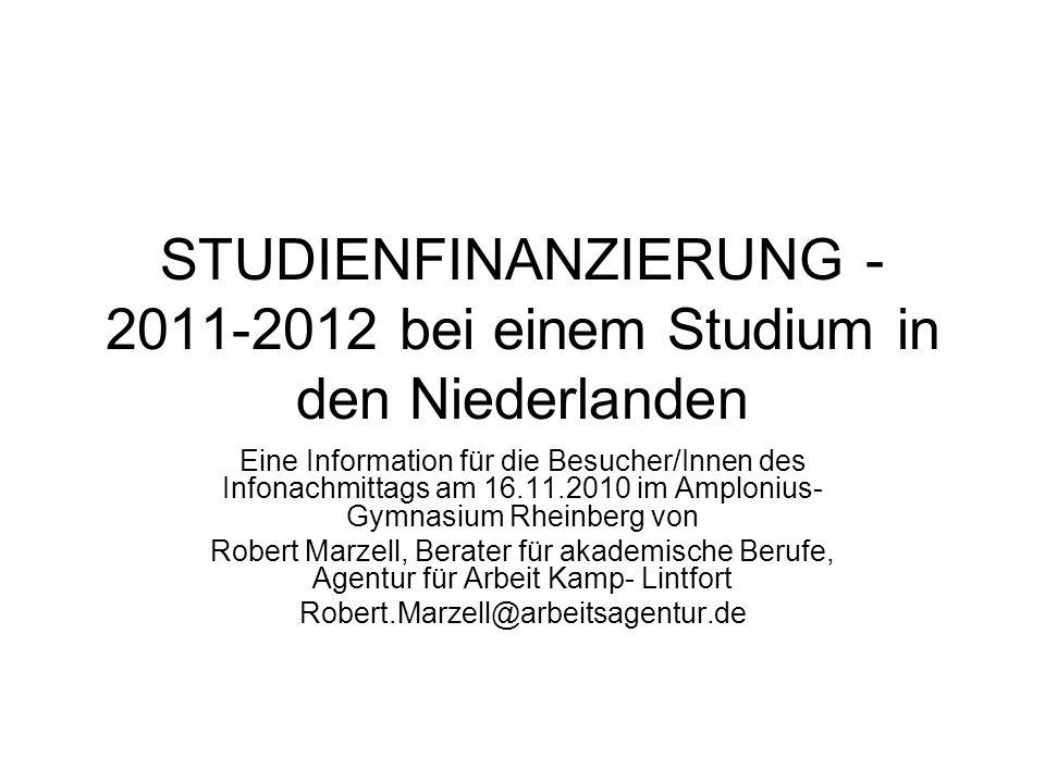 STUDIENFINANZIERUNG -2011-2012 bei einem Studium in den Niederlanden