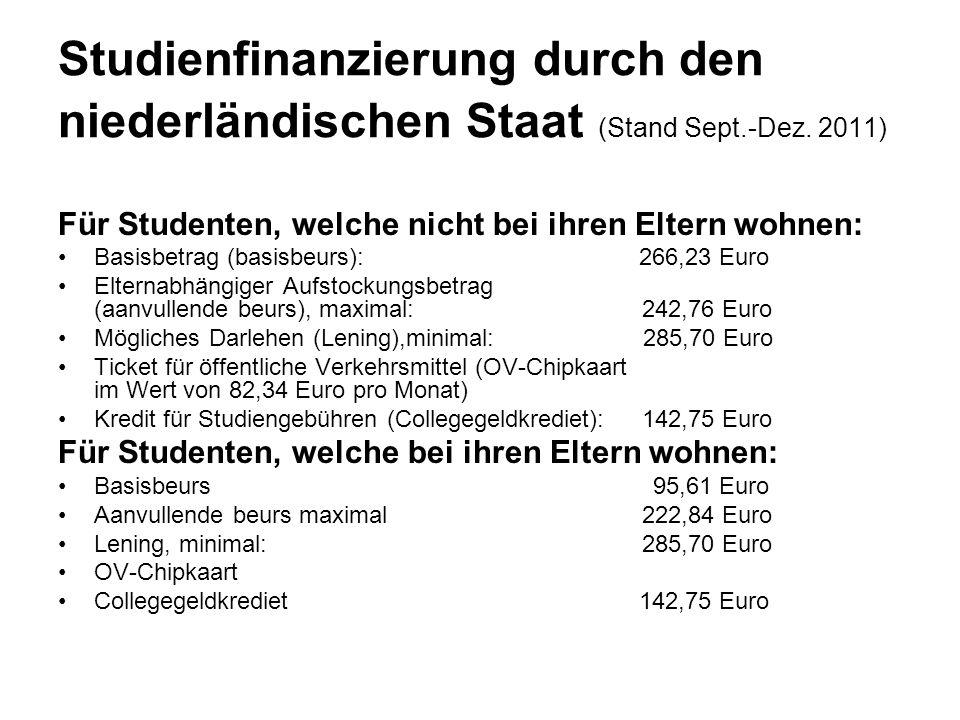 Studienfinanzierung durch den niederländischen Staat (Stand Sept. -Dez