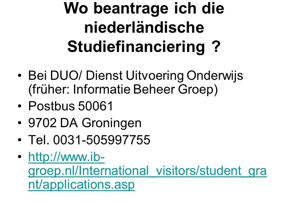 Wo beantrage ich die niederländische Studiefinanciering