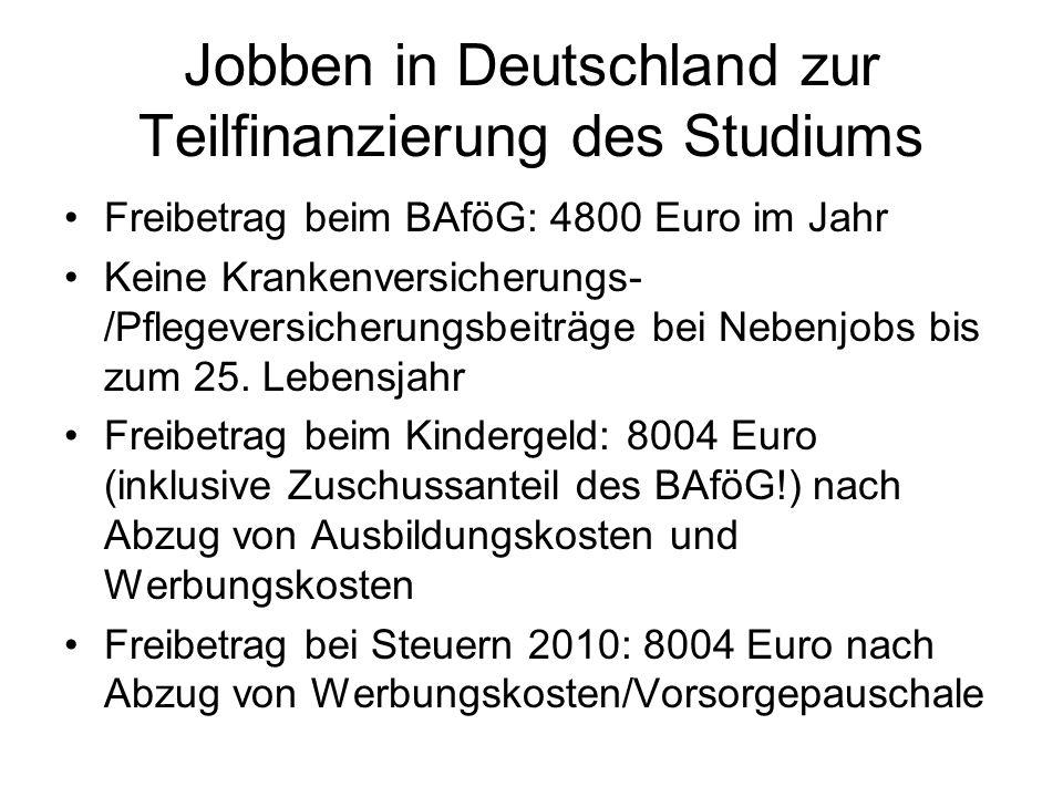 Jobben in Deutschland zur Teilfinanzierung des Studiums