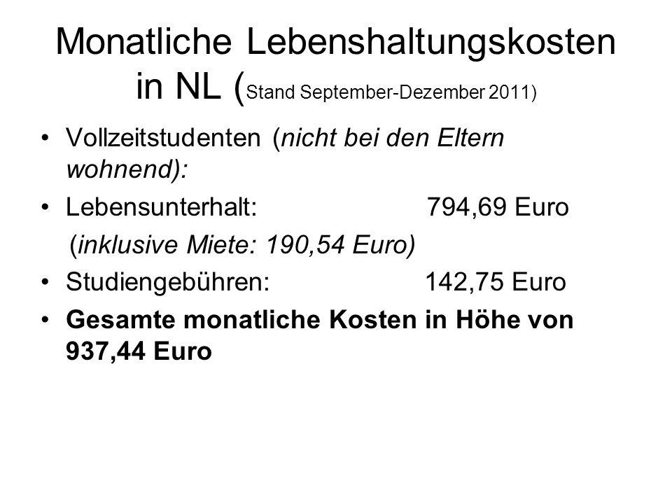 Monatliche Lebenshaltungskosten in NL (Stand September-Dezember 2011)