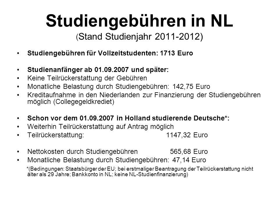 Studiengebühren in NL (Stand Studienjahr 2011-2012)
