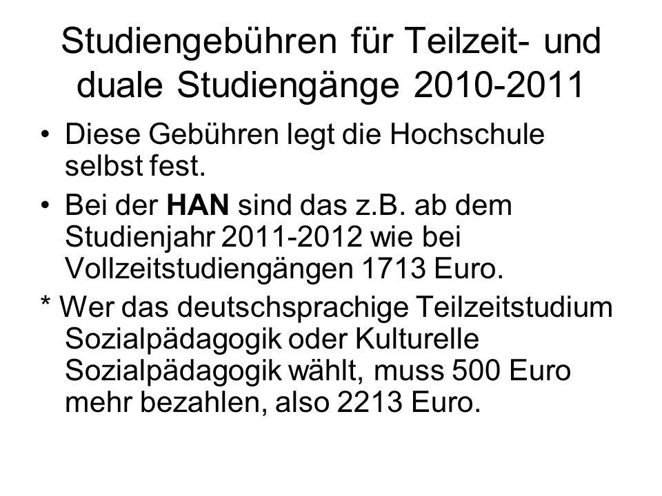 Studiengebühren für Teilzeit- und duale Studiengänge 2010-2011