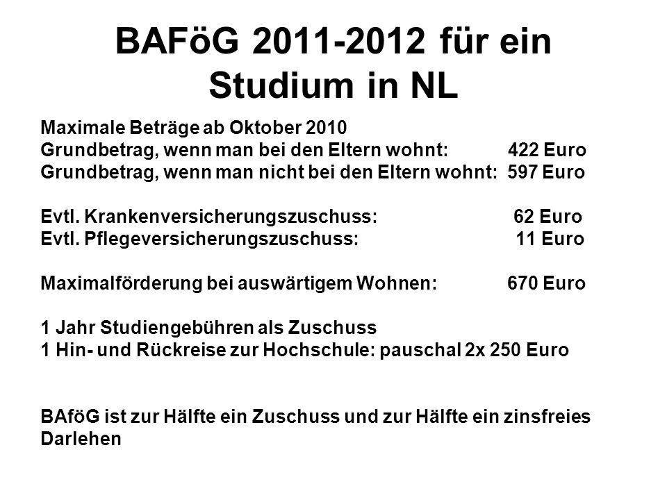 BAFöG 2011-2012 für ein Studium in NL