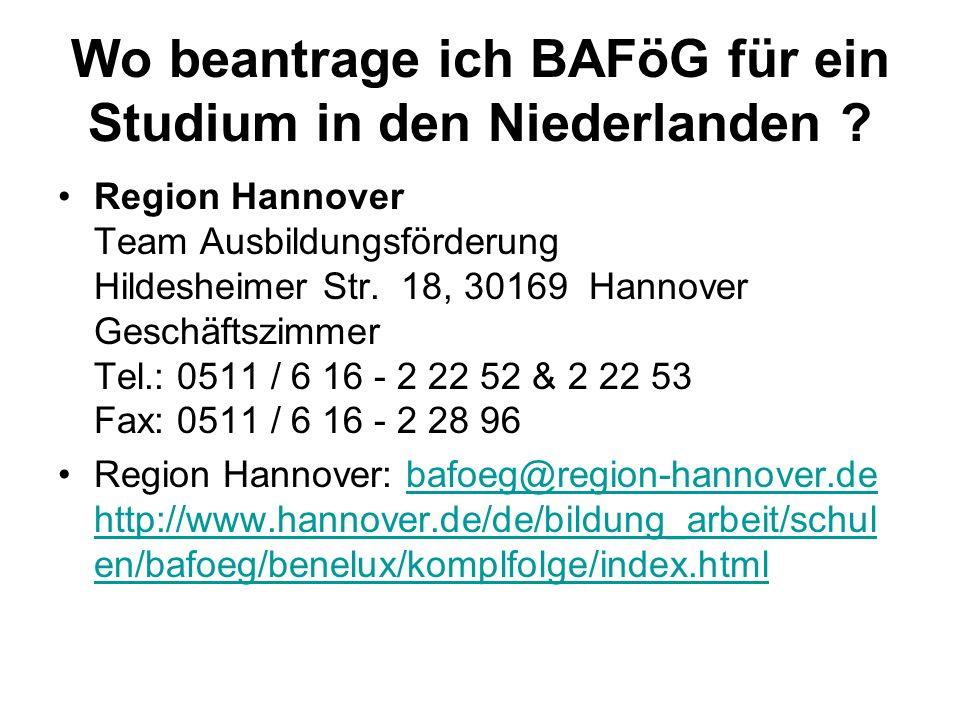 Wo beantrage ich BAFöG für ein Studium in den Niederlanden