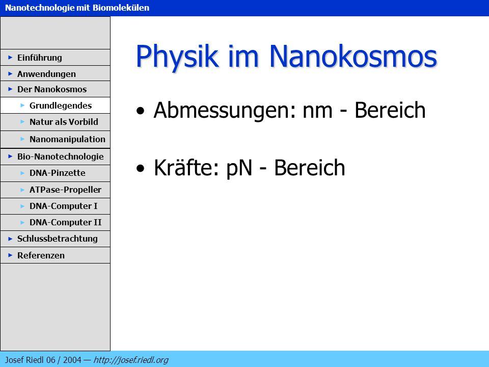 Physik im Nanokosmos Abmessungen: nm - Bereich Kräfte: pN - Bereich