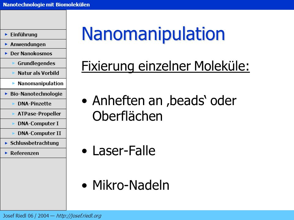 Nanomanipulation Fixierung einzelner Moleküle: