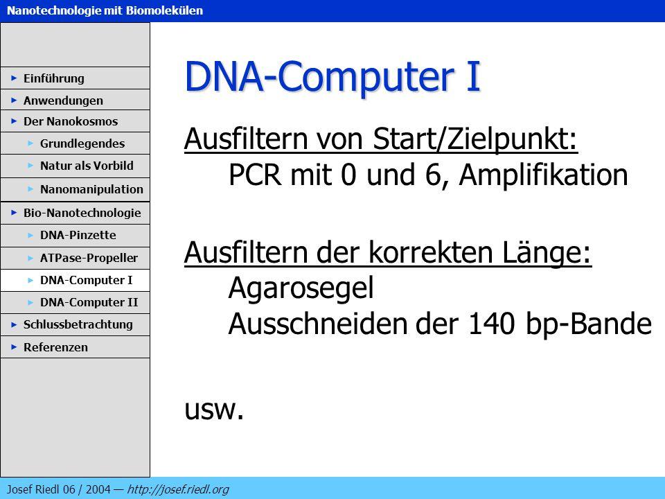 DNA-Computer IEinführung. Anwendungen. Der Nanokosmos. Ausfiltern von Start/Zielpunkt: PCR mit 0 und 6, Amplifikation.