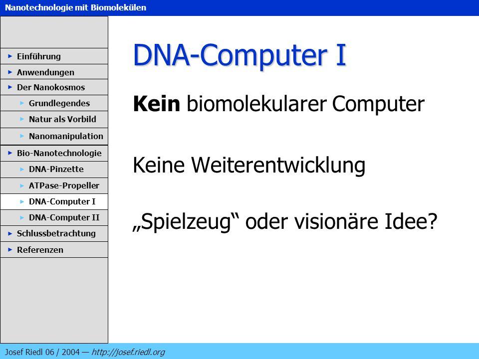 DNA-Computer I Kein biomolekularer Computer Keine Weiterentwicklung