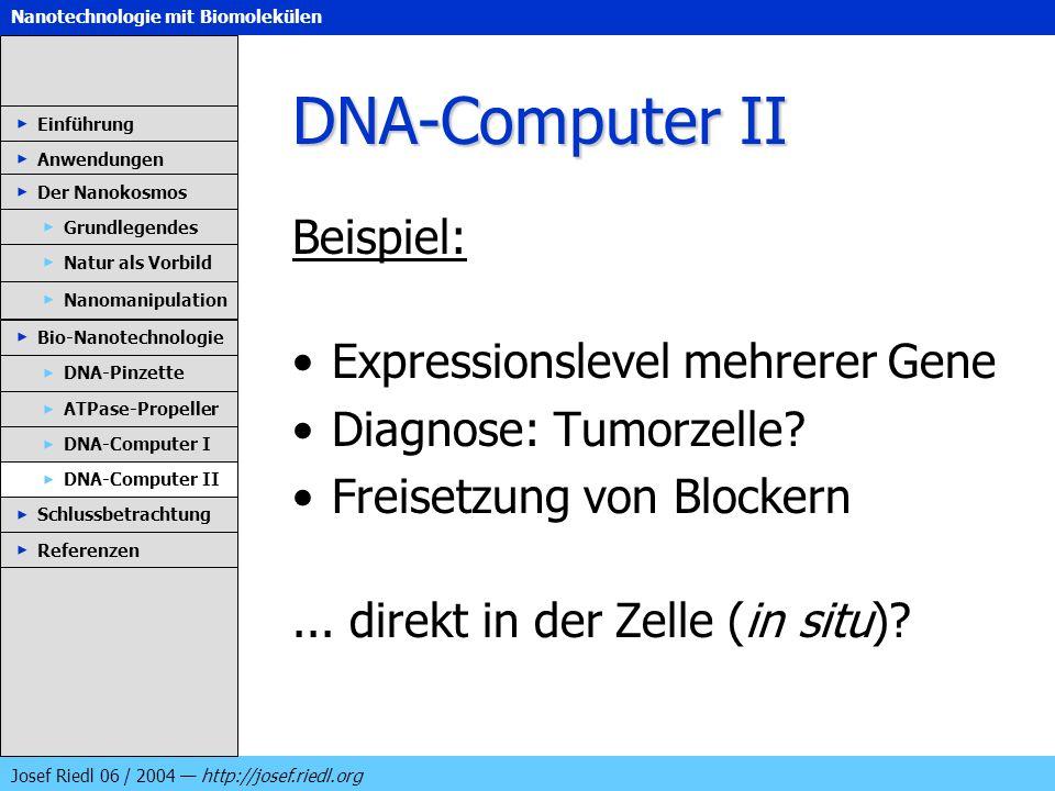 DNA-Computer II Beispiel: Expressionslevel mehrerer Gene
