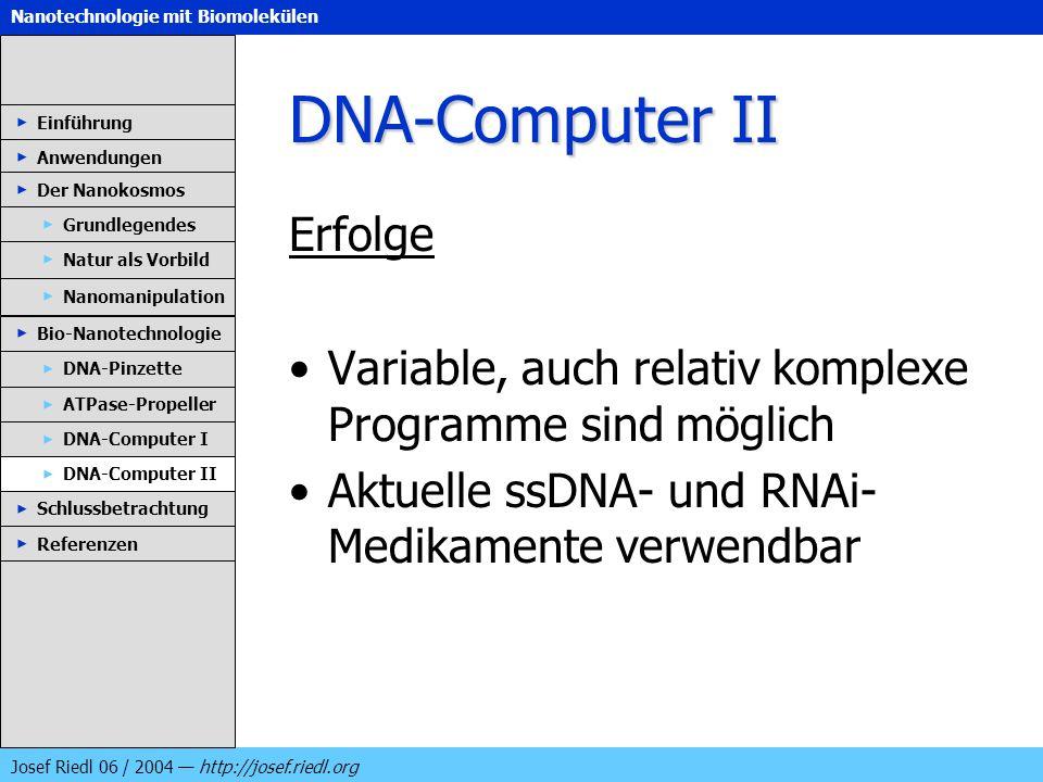 DNA-Computer II Erfolge