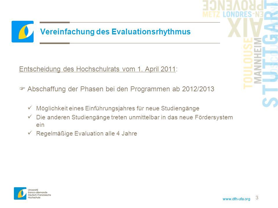 Vereinfachung des Evaluationsrhythmus