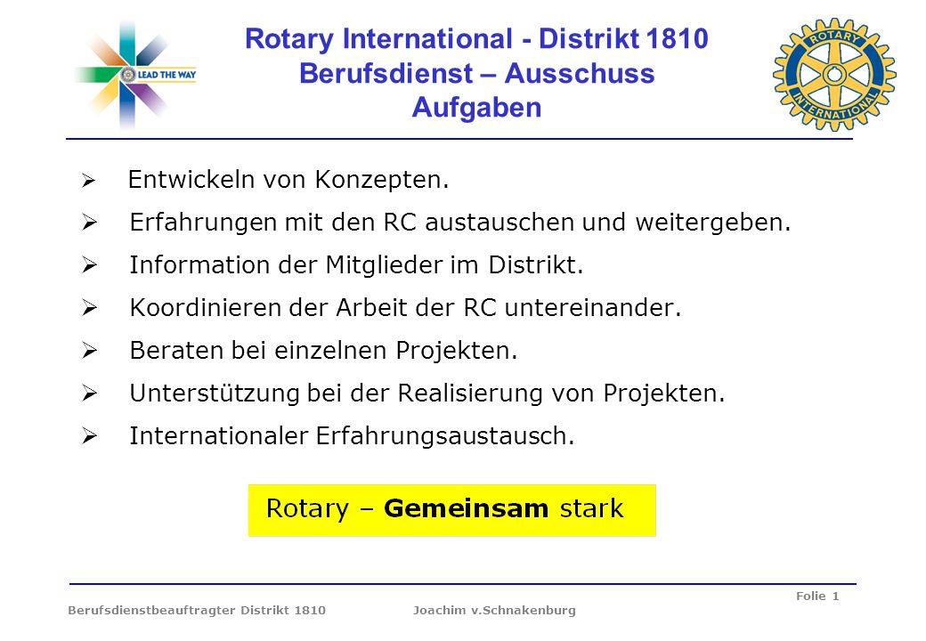 Rotary International - Distrikt 1810 Berufsdienst – Ausschuss Aufgaben