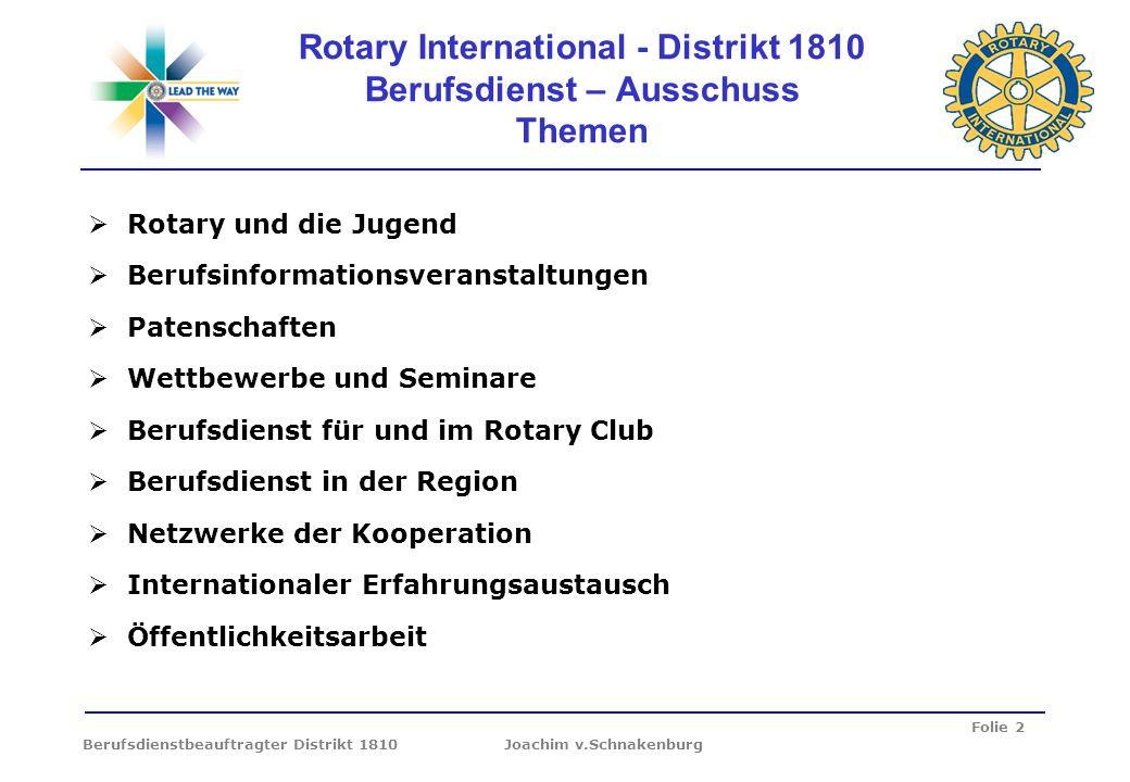 Rotary International - Distrikt 1810 Berufsdienst – Ausschuss Themen
